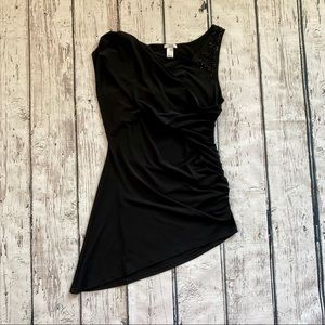 NWOT Vintage Cachè black top with draped sleeve